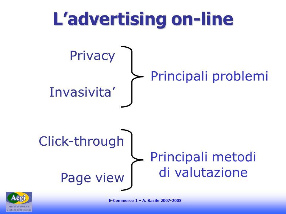 E-Commerce 1 – A. Basile 2007-2008 Ladvertising on-line Privacy Invasivita Principali problemi Click-through Page view Principali metodi di valutazion