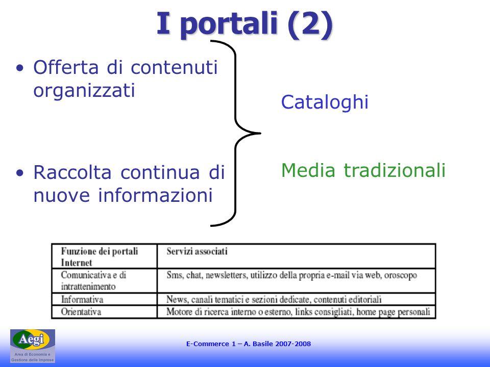 E-Commerce 1 – A. Basile 2007-2008 I portali (2) Offerta di contenuti organizzati Raccolta continua di nuove informazioni Cataloghi Media tradizionali