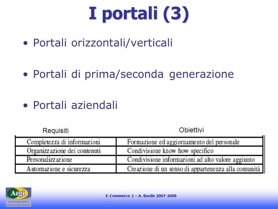 E-Commerce 1 – A. Basile 2007-2008 I portali (3) Portali orizzontali/verticali Portali di prima/seconda generazione Portali aziendali Requisiti Obiett