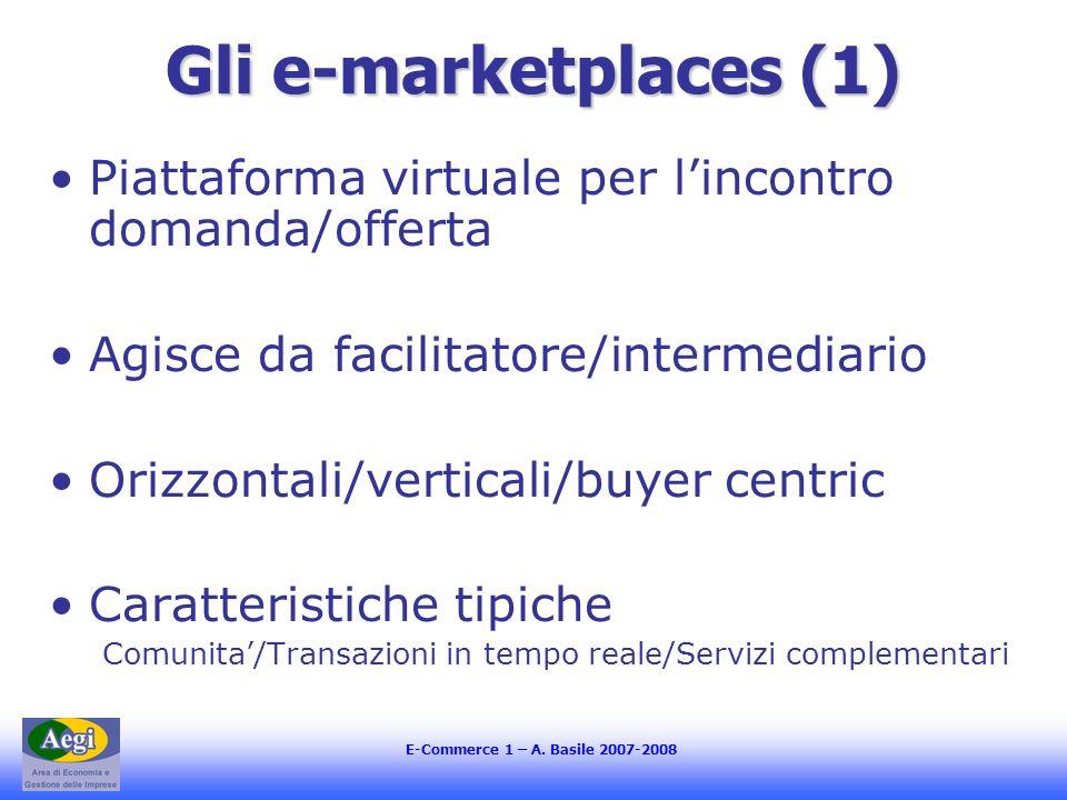 E-Commerce 1 – A. Basile 2007-2008 Gli e-marketplaces (1) Piattaforma virtuale per lincontro domanda/offerta Agisce da facilitatore/intermediario Oriz