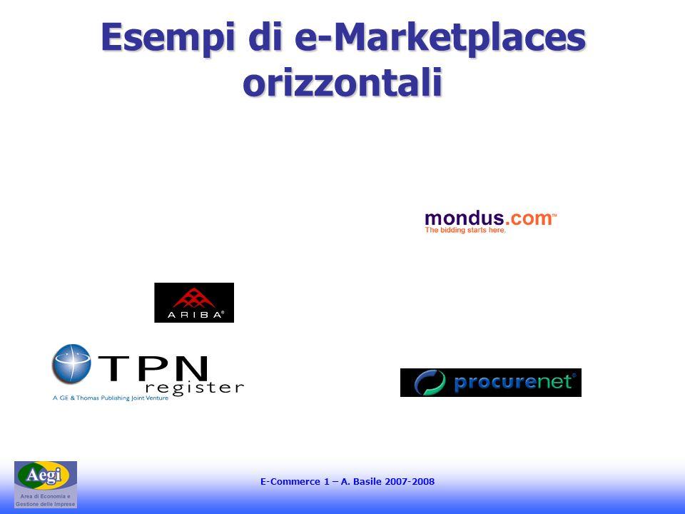 E-Commerce 1 – A. Basile 2007-2008 Esempi di e-Marketplaces orizzontali