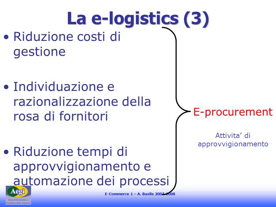 E-Commerce 1 – A. Basile 2007-2008 La e-logistics (3) Riduzione costi di gestione Individuazione e razionalizzazione della rosa di fornitori Riduzione