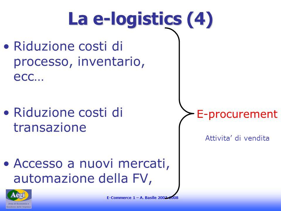 E-Commerce 1 – A. Basile 2007-2008 La e-logistics (4) Riduzione costi di processo, inventario, ecc… Riduzione costi di transazione Accesso a nuovi mer