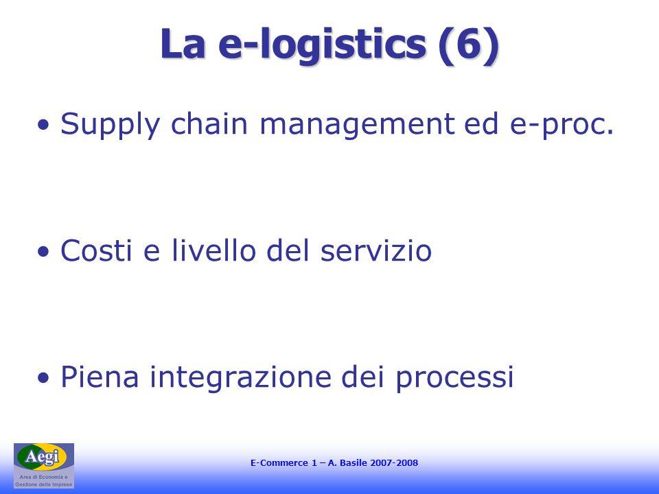 E-Commerce 1 – A. Basile 2007-2008 La e-logistics (6) Supply chain management ed e-proc. Costi e livello del servizio Piena integrazione dei processi