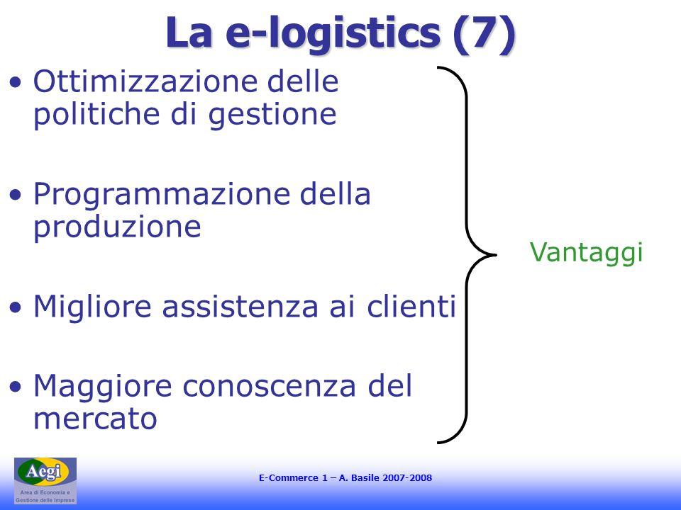 E-Commerce 1 – A. Basile 2007-2008 La e-logistics (7) Ottimizzazione delle politiche di gestione Programmazione della produzione Migliore assistenza a
