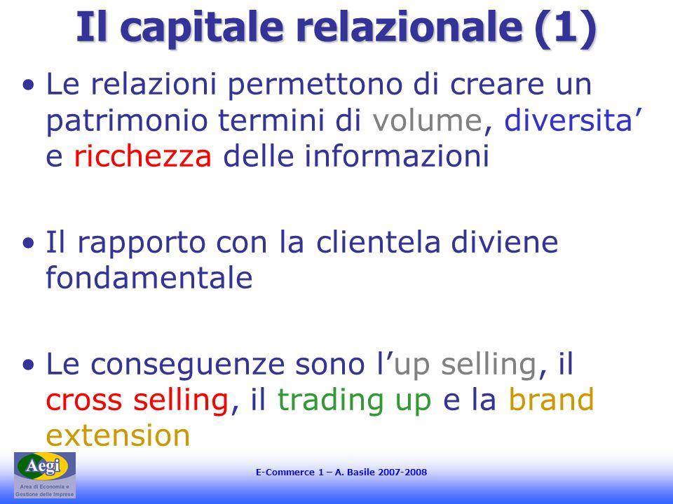 E-Commerce 1 – A. Basile 2007-2008 Il capitale relazionale (1) Le relazioni permettono di creare un patrimonio termini di volume, diversita e ricchezz