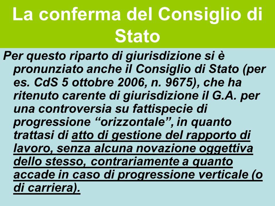 La conferma del Consiglio di Stato Per questo riparto di giurisdizione si è pronunziato anche il Consiglio di Stato (per es. CdS 5 ottobre 2006, n. 96