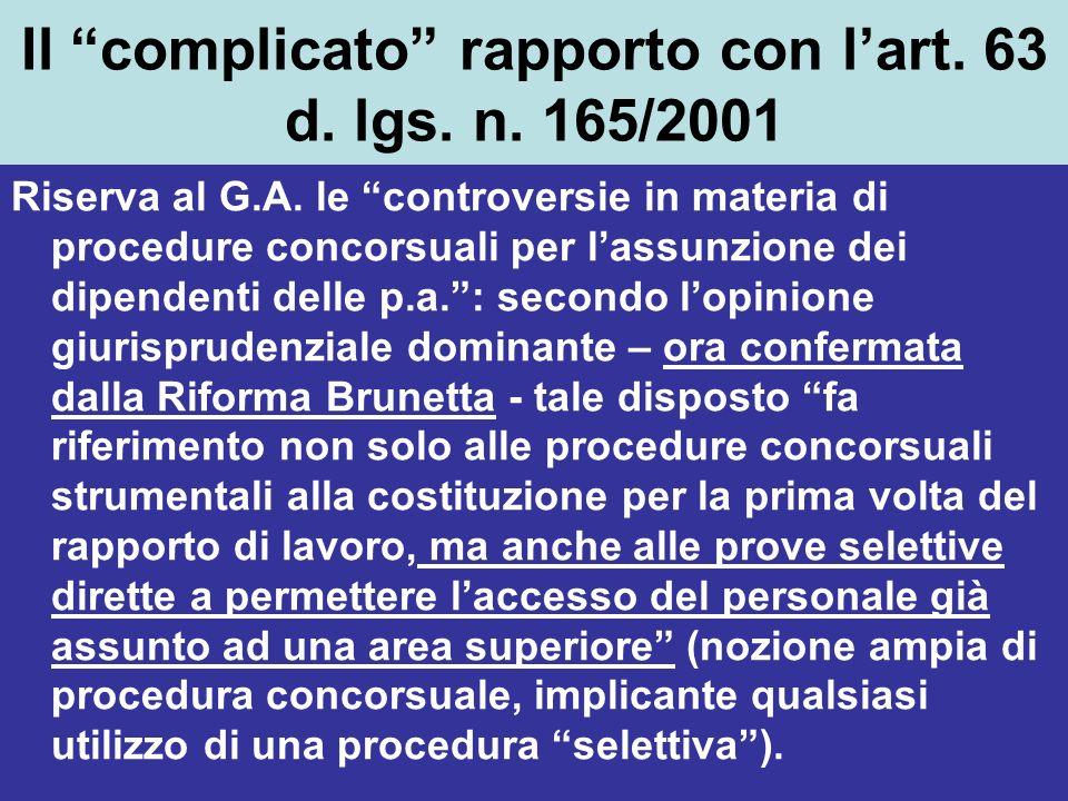 Il complicato rapporto con lart. 63 d. lgs. n. 165/2001 Riserva al G.A. le controversie in materia di procedure concorsuali per lassunzione dei dipend