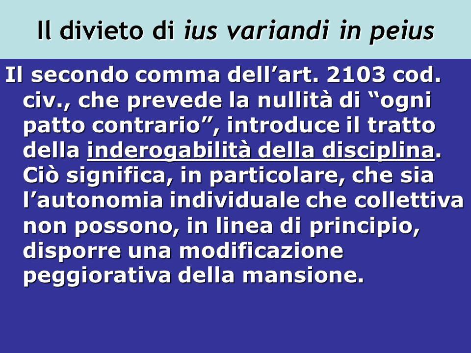 Il divieto di ius variandi in peius Il secondo comma dellart. 2103 cod. civ., che prevede la nullità di ogni patto contrario, introduce il tratto dell
