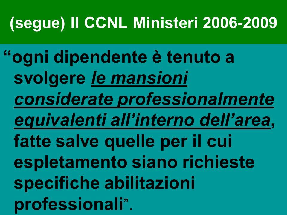 (segue) Il CCNL Ministeri 2006-2009 ogni dipendente è tenuto a svolgere le mansioni considerate professionalmente equivalenti allinterno dellarea, fat