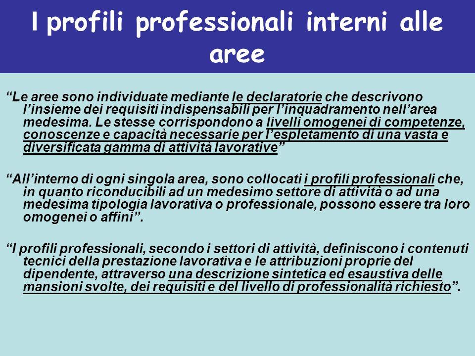 I p rofili professionali interni alle aree Le aree sono individuate mediante le declaratorie che descrivono linsieme dei requisiti indispensabili per