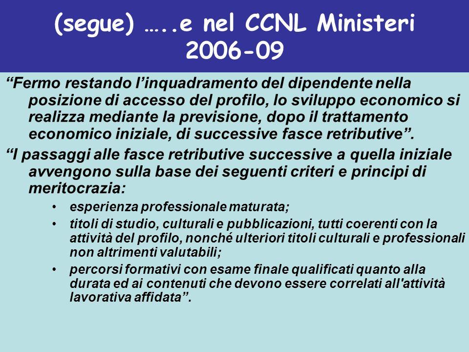 (segue) …..e nel CCNL Ministeri 2006-09 Fermo restando linquadramento del dipendente nella posizione di accesso del profilo, lo sviluppo economico si