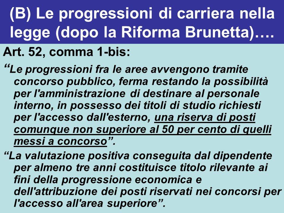 (B) Le progressioni di carriera nella legge (dopo la Riforma Brunetta)…. Art. 52, comma 1-bis: Le progressioni fra le aree avvengono tramite concorso