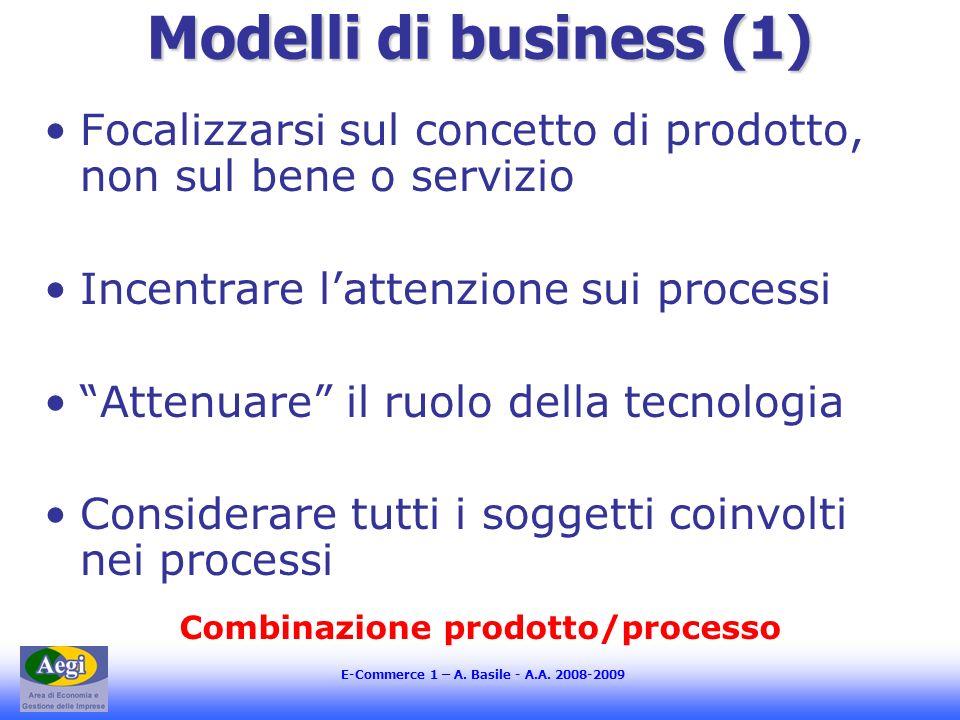 E-Commerce 1 – A. Basile - A.A. 2008-2009 Modelli di business (1) Focalizzarsi sul concetto di prodotto, non sul bene o servizio Incentrare lattenzion