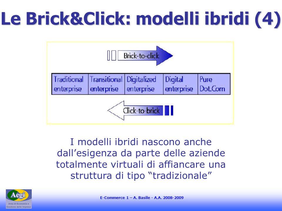 E-Commerce 1 – A. Basile - A.A. 2008-2009 Le Brick&Click: modelli ibridi (4) I modelli ibridi nascono anche dallesigenza da parte delle aziende totalm