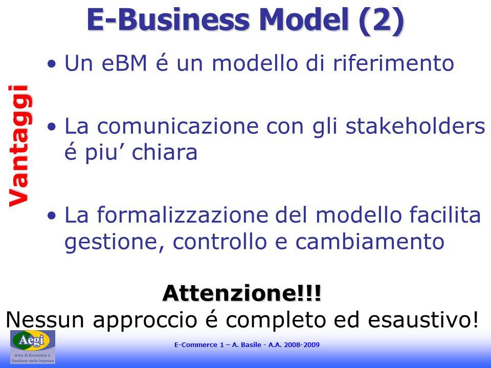 E-Commerce 1 – A. Basile - A.A. 2008-2009 E-Business Model (2) Un eBM é un modello di riferimento La comunicazione con gli stakeholders é piu chiara L