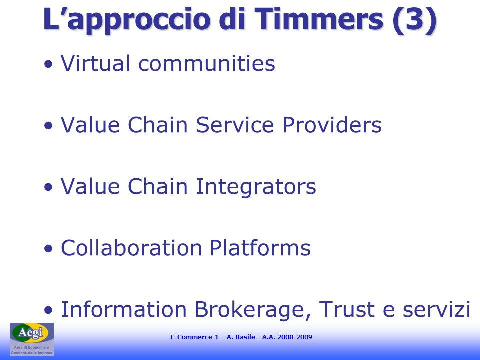 E-Commerce 1 – A. Basile - A.A. 2008-2009 Lapproccio di Timmers (3) Virtual communities Value Chain Service Providers Value Chain Integrators Collabor