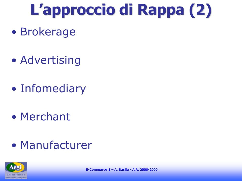 E-Commerce 1 – A. Basile - A.A. 2008-2009 Lapproccio di Rappa (2) Brokerage Advertising Infomediary Merchant Manufacturer