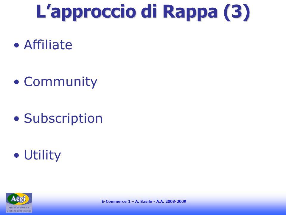 E-Commerce 1 – A. Basile - A.A. 2008-2009 Lapproccio di Rappa (3) Affiliate Community Subscription Utility