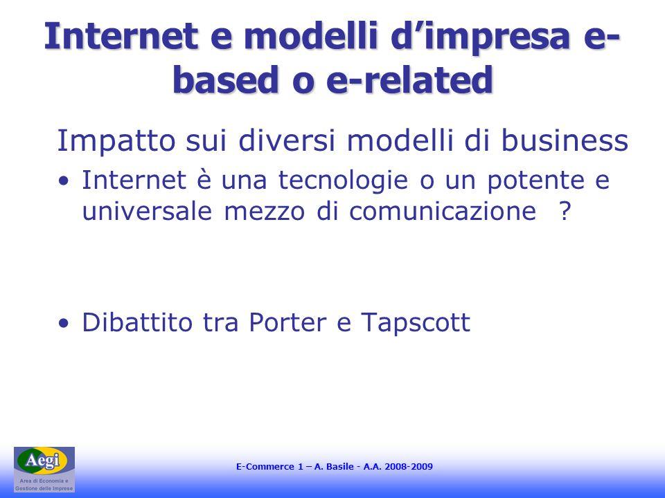 Internet e modelli dimpresa e- based o e-related Impatto sui diversi modelli di business Internet è una tecnologie o un potente e universale mezzo di