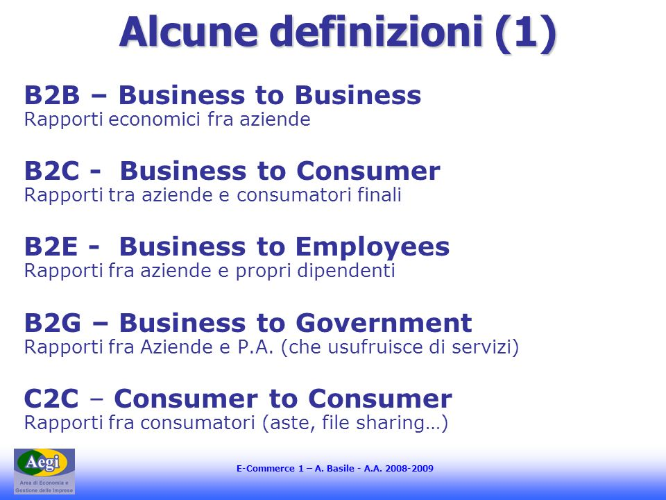 E-Commerce 1 – A. Basile - A.A.
