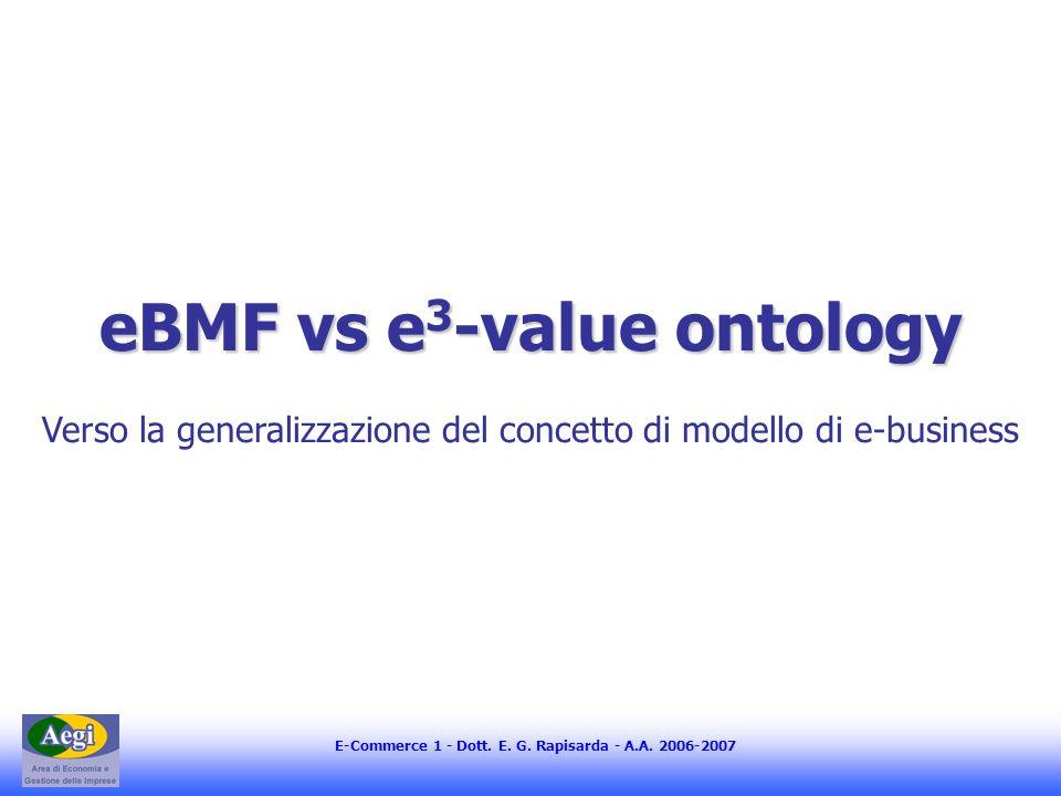 E-Commerce 1 - Dott. E. G. Rapisarda - A.A. 2006-2007 eBMF vs e 3 -value ontology Verso la generalizzazione del concetto di modello di e-business