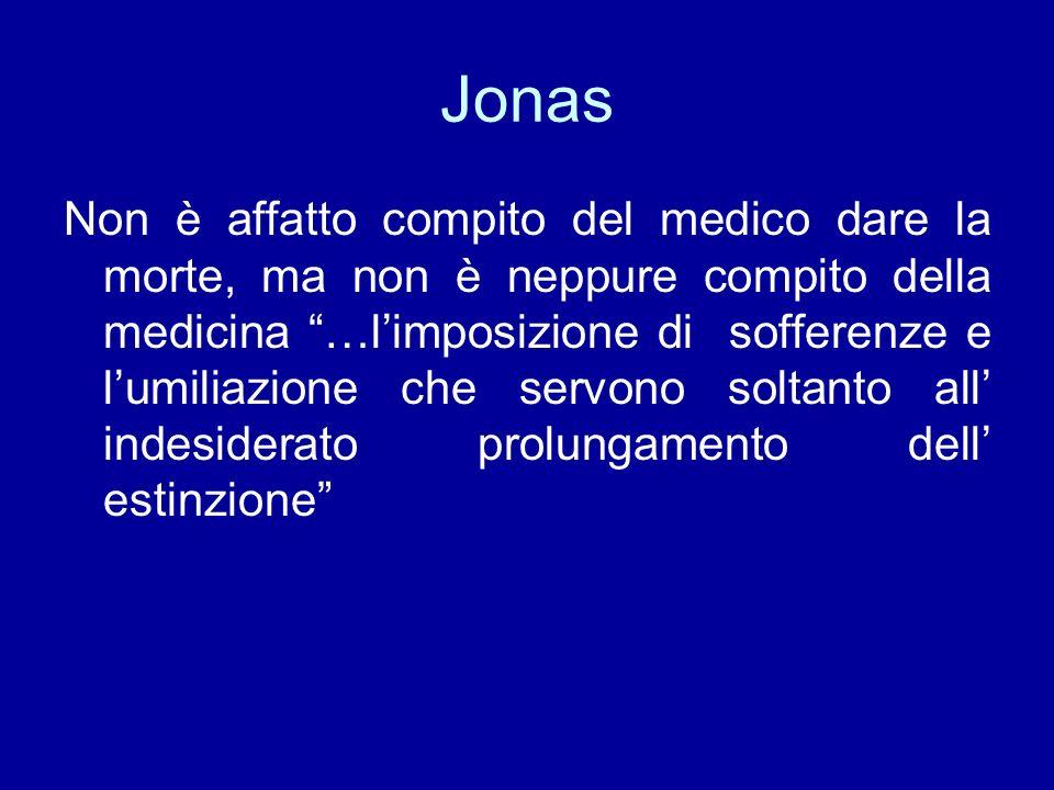 Jonas Non è affatto compito del medico dare la morte, ma non è neppure compito della medicina …limposizione di sofferenze e lumiliazione che servono soltanto all indesiderato prolungamento dell estinzione