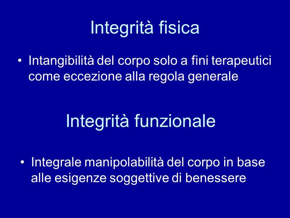 Integrità fisica Intangibilità del corpo solo a fini terapeutici come eccezione alla regola generale Integrità funzionale Integrale manipolabilità del corpo in base alle esigenze soggettive di benessere