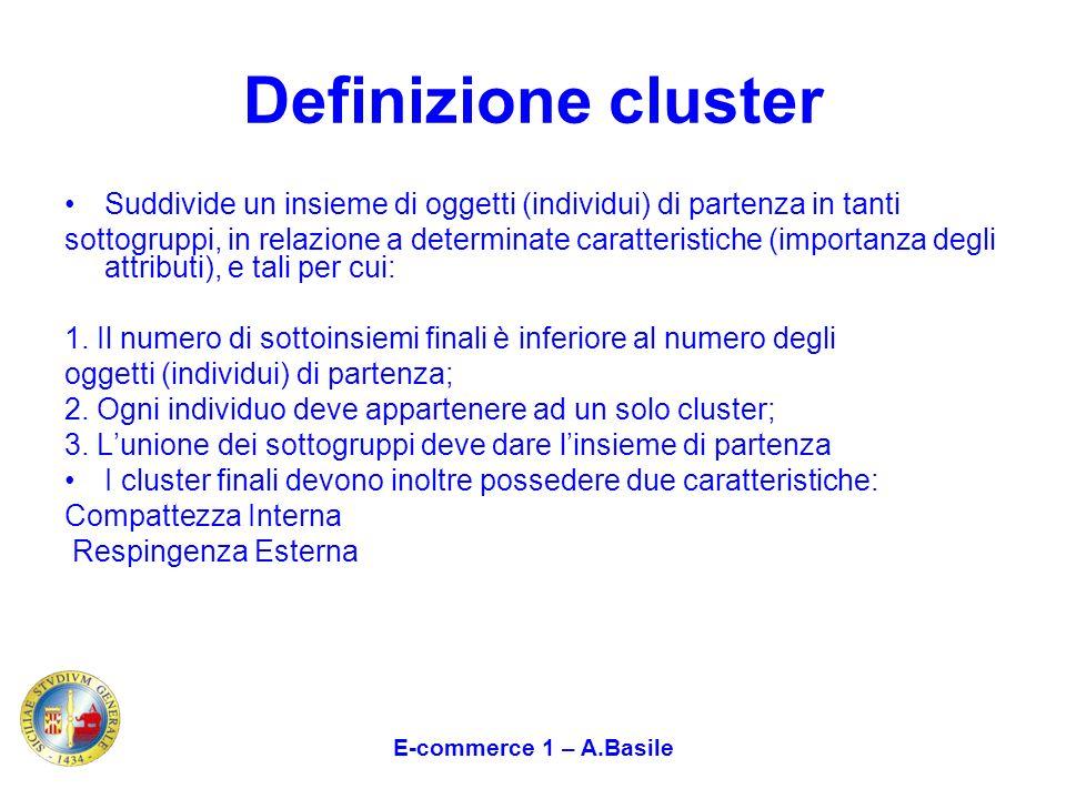 Definizione cluster Suddivide un insieme di oggetti (individui) di partenza in tanti sottogruppi, in relazione a determinate caratteristiche (importan