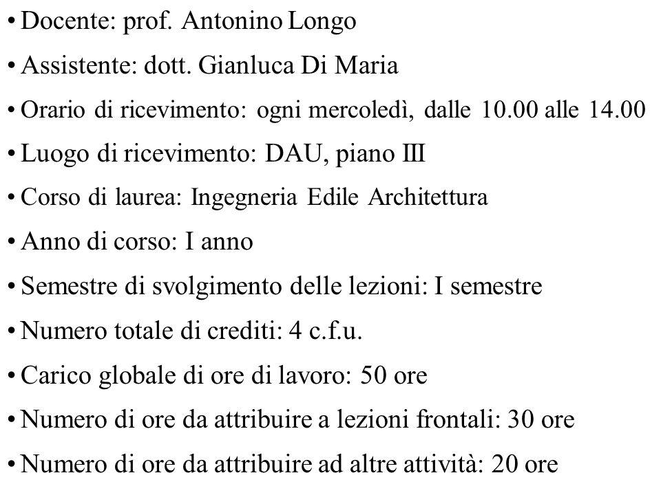 Docente: prof. Antonino Longo Assistente: dott. Gianluca Di Maria Orario di ricevimento: ogni mercoledì, dalle 10.00 alle 14.00 Luogo di ricevimento: