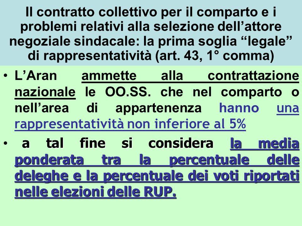 Il contratto collettivo per il comparto e i problemi relativi alla selezione dellattore negoziale sindacale: la prima soglia legale di rappresentatività (art.
