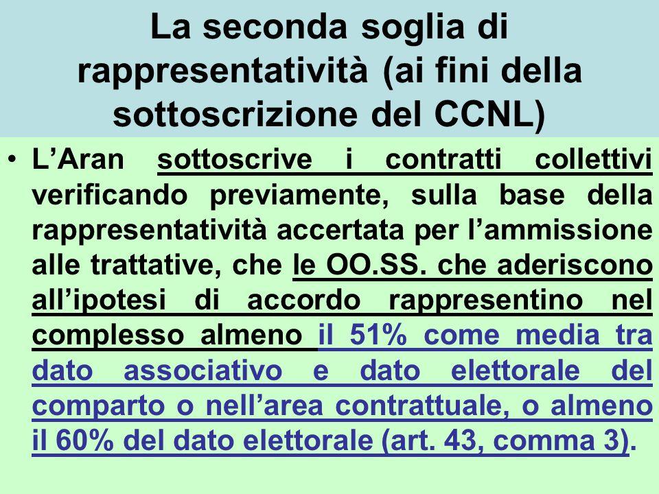 La seconda soglia di rappresentatività (ai fini della sottoscrizione del CCNL) LAran sottoscrive i contratti collettivi verificando previamente, sulla base della rappresentatività accertata per lammissione alle trattative, che le OO.SS.