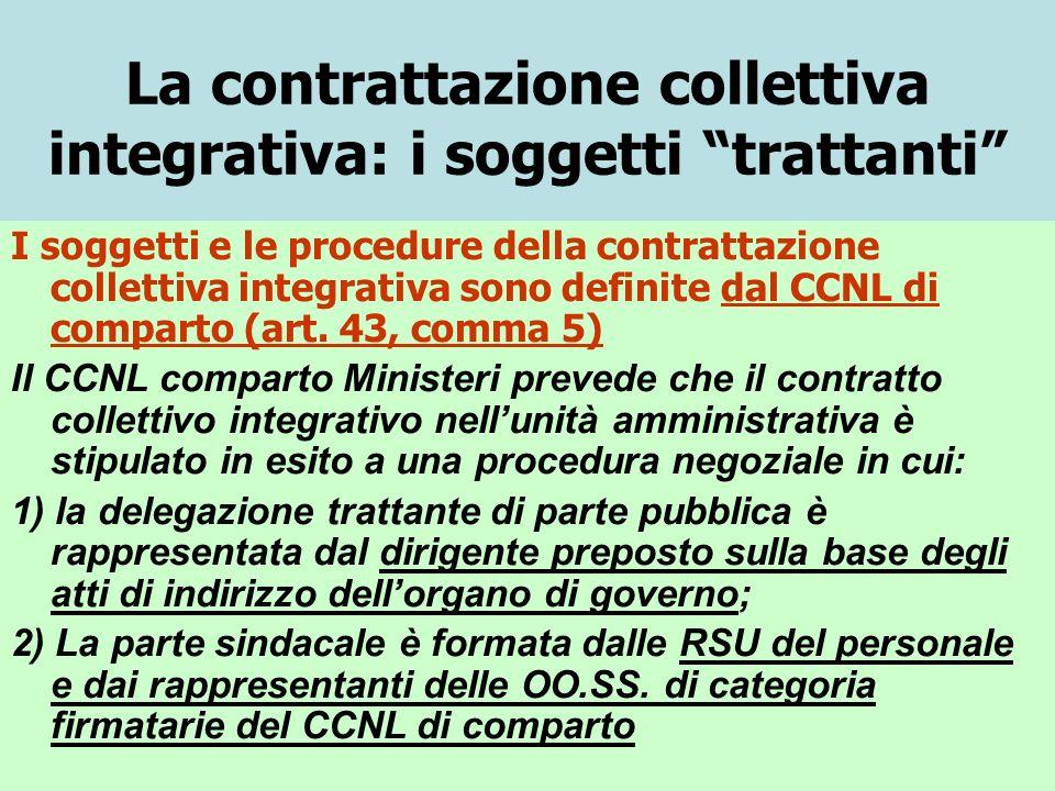 La contrattazione collettiva integrativa: i soggetti trattanti I soggetti e le procedure della contrattazione collettiva integrativa sono definite dal CCNL di comparto (art.