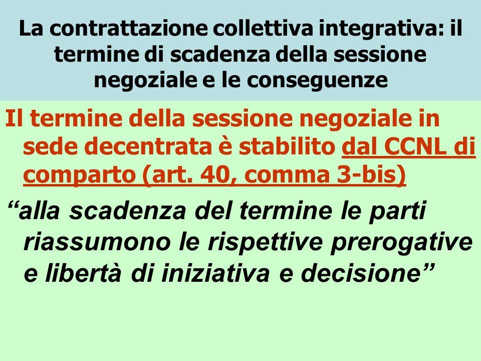 La contrattazione collettiva integrativa: il termine di scadenza della sessione negoziale e le conseguenze Il termine della sessione negoziale in sede decentrata è stabilito dal CCNL di comparto (art.
