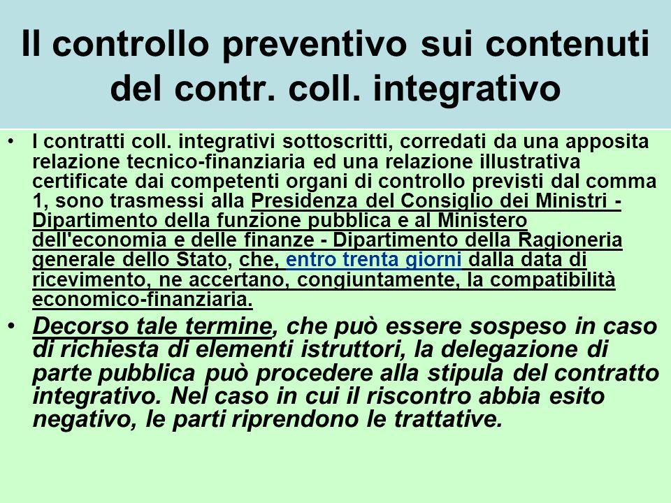 Il controllo preventivo sui contenuti del contr.coll.