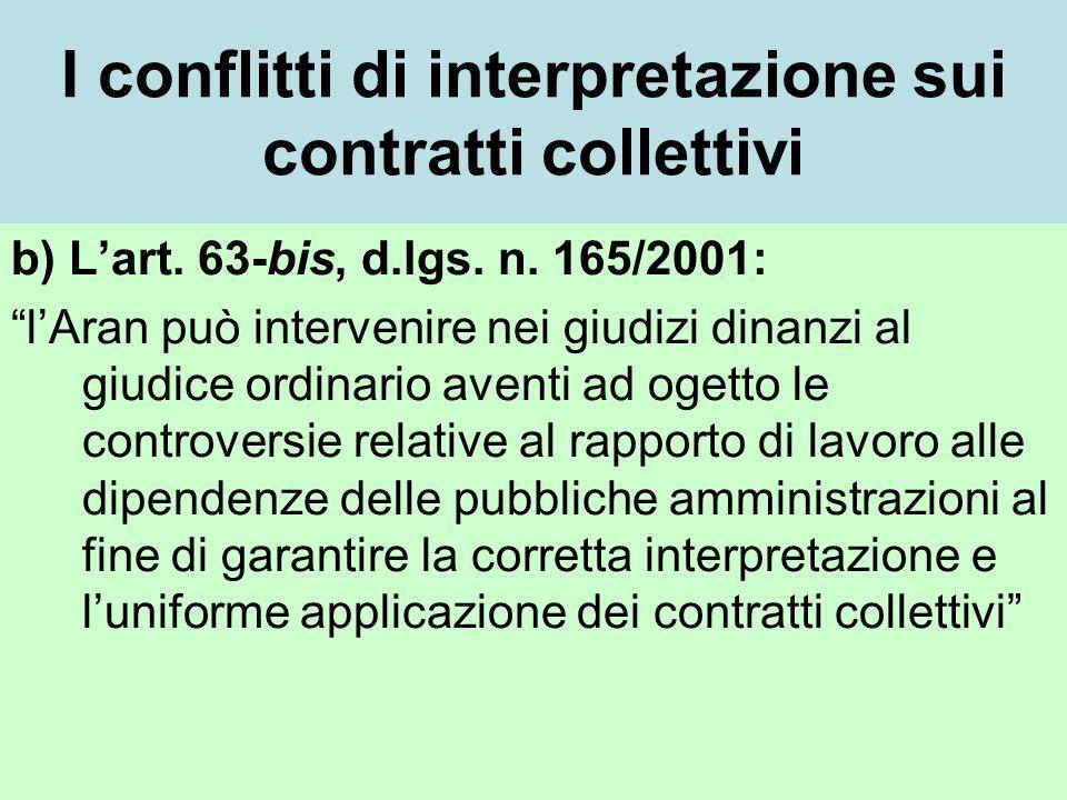 I conflitti di interpretazione sui contratti collettivi b) Lart.