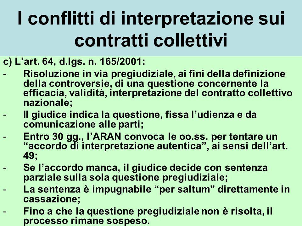 I conflitti di interpretazione sui contratti collettivi c) Lart.