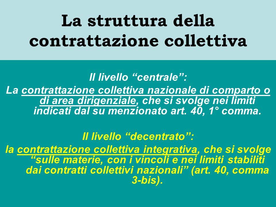 La struttura della contrattazione collettiva Il livello centrale: La contrattazione collettiva nazionale di comparto o di area dirigenziale, che si svolge nei limiti indicati dal su menzionato art.