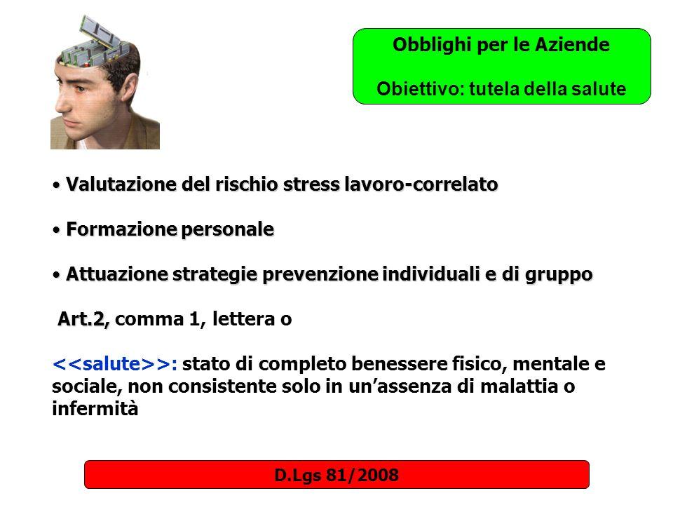 Valutazione del rischio stress lavoro-correlato Valutazione del rischio stress lavoro-correlato Formazione personale Formazione personale Attuazione s