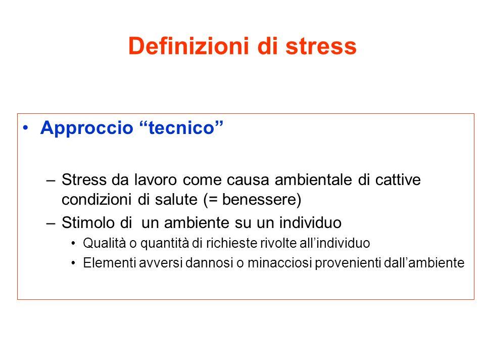Definizioni di stress Approccio tecnico –Stress da lavoro come causa ambientale di cattive condizioni di salute (= benessere) –Stimolo di un ambiente