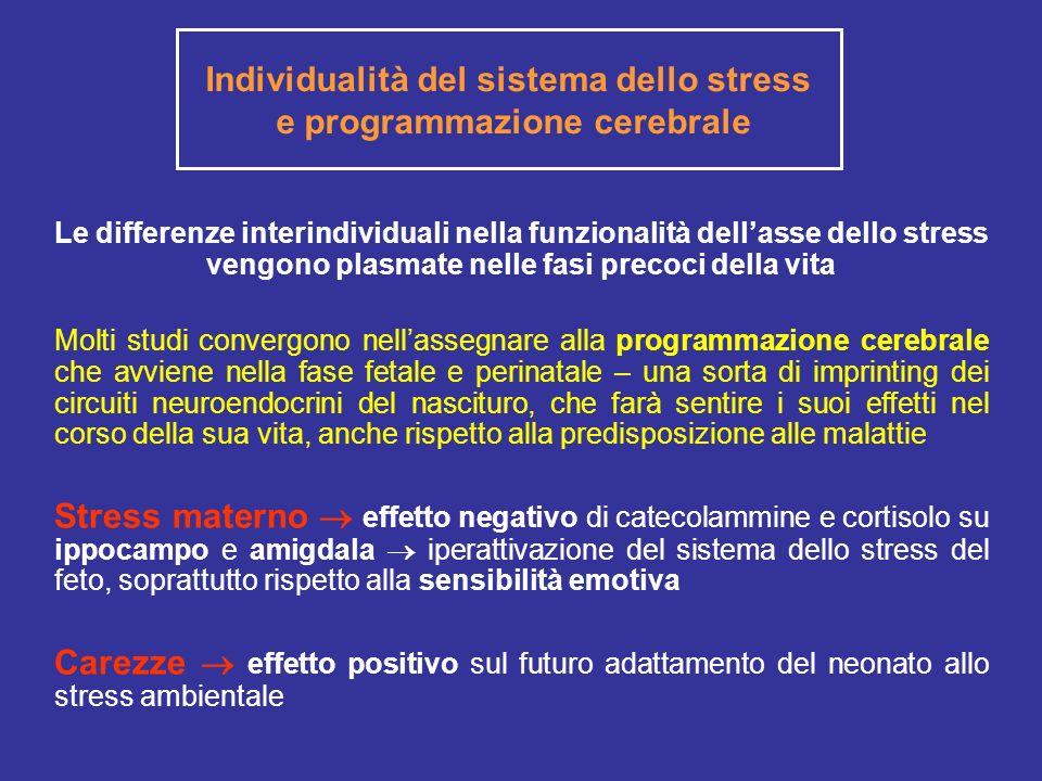 Individualità del sistema dello stress e programmazione cerebrale Le differenze interindividuali nella funzionalità dellasse dello stress vengono plas