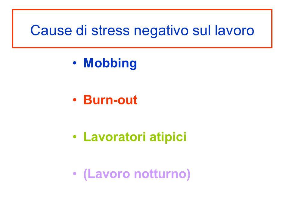 Cause di stress negativo sul lavoro Mobbing Burn-out Lavoratori atipici (Lavoro notturno)