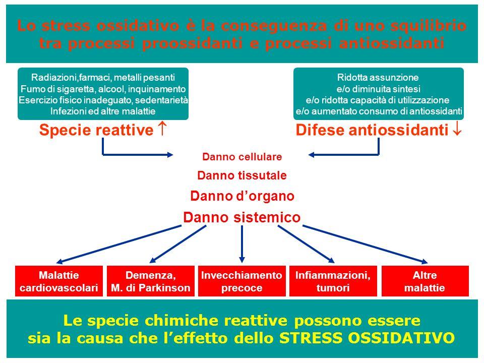 Lo stress ossidativo è la conseguenza di uno squilibrio tra processi proossidanti e processi antiossidanti Le specie chimiche reattive possono essere
