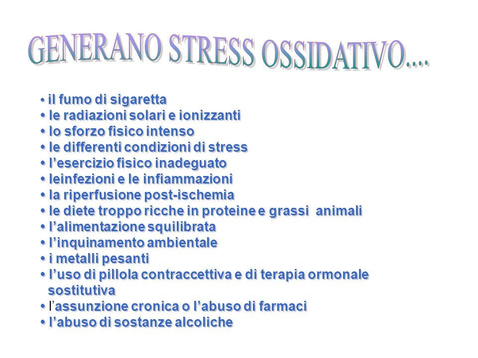 il fumo di sigaretta le radiazioni solari e ionizzanti lo sforzo fisico intenso le differenti condizioni di stress il fumo di sigaretta le radiazioni