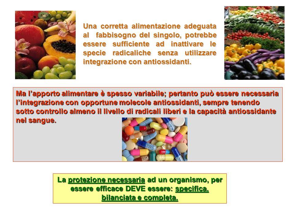 Ma lapporto alimentare è spesso variabile; pertanto può essere necessaria lintegrazione con opportune molecole antiossidanti, sempre tenendo sotto con