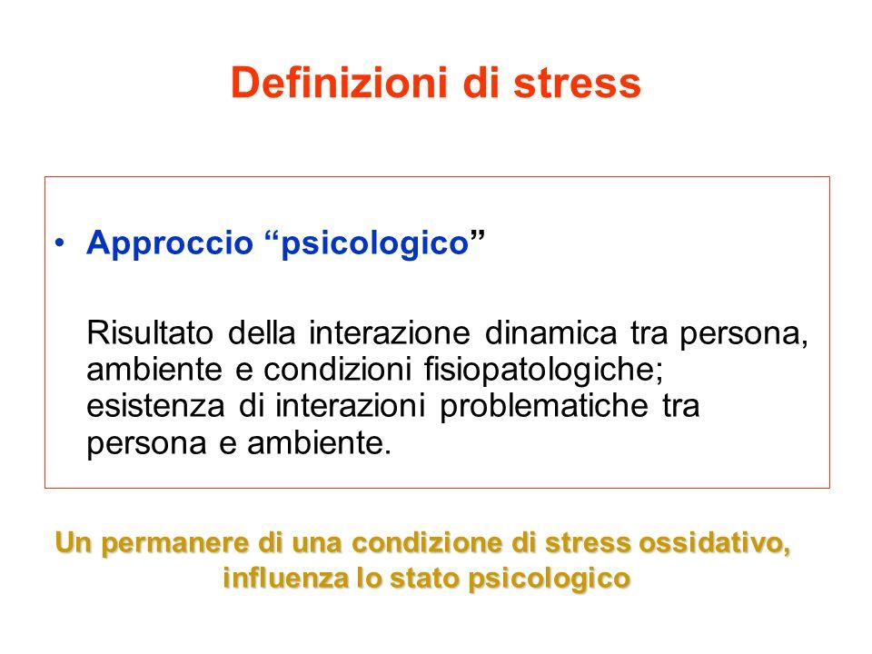 Definizioni di stress Approccio psicologico Risultato della interazione dinamica tra persona, ambiente e condizioni fisiopatologiche; esistenza di int