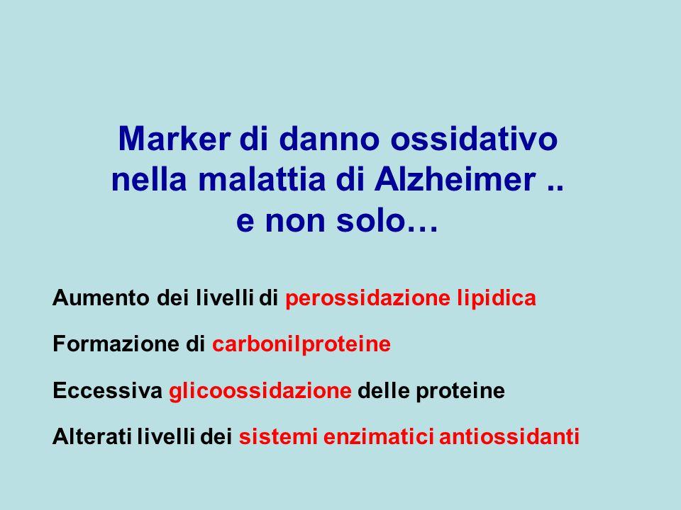 Marker di danno ossidativo nella malattia di Alzheimer.. e non solo… Aumento dei livelli di perossidazione lipidica Formazione di carbonilproteine Ecc