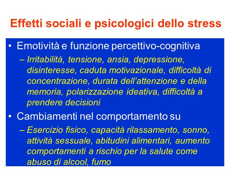 Effetti sociali e psicologici dello stress Emotività e funzione percettivo-cognitiva –Irritabilità, tensione, ansia, depressione, disinteresse, caduta