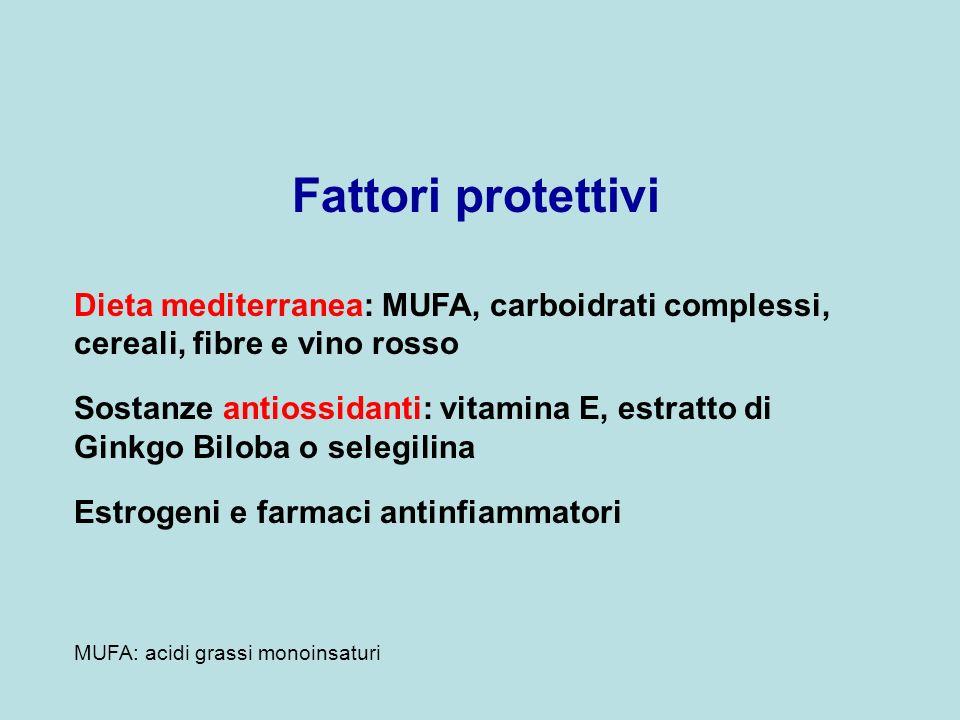 Fattori protettivi Dieta mediterranea: MUFA, carboidrati complessi, cereali, fibre e vino rosso Sostanze antiossidanti: vitamina E, estratto di Ginkgo
