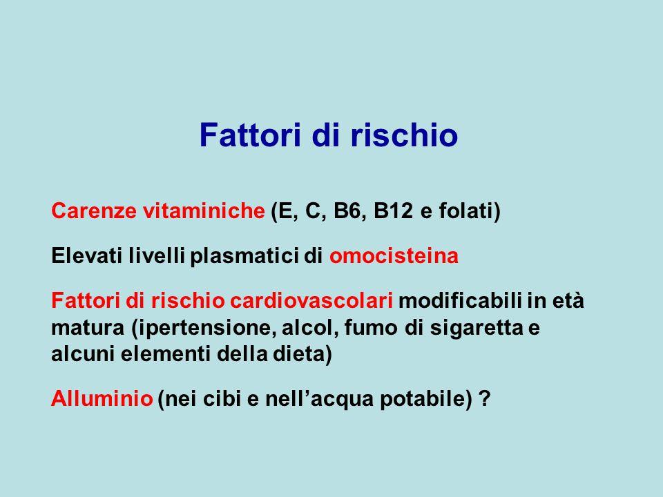 Fattori di rischio Carenze vitaminiche (E, C, B6, B12 e folati) Elevati livelli plasmatici di omocisteina Fattori di rischio cardiovascolari modificab